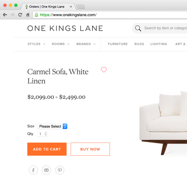 One Kings Lane / Product Detail Page